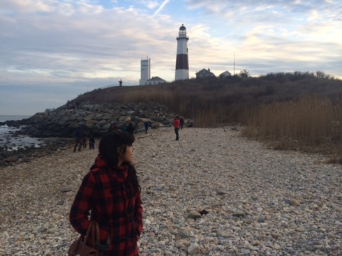 How I spent New Year's Day. Staring, motionless, at a stranger in a windbreaker and/or lighthouse in the distance.